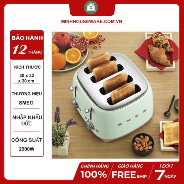 Máy nướng bánh mì cao cấp từ SMEG trẻ trung, hiện đại với 4 ngăn tiện dụng, chất liệu an toàn, giúp bạn nướng bánh chỉ trong vòng 1-2 phút