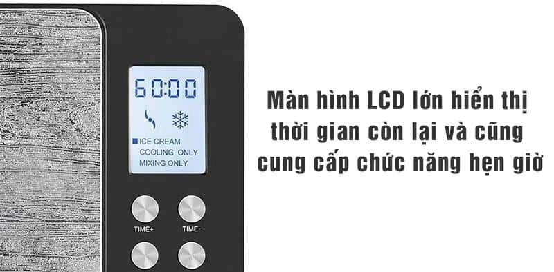 Màn hình LCD lớn hiển thị thời gian còn lại và cũng cung cấp chức năng hẹn giờ