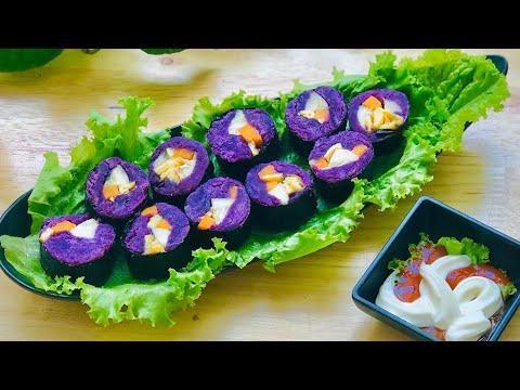 Món kimbap khoai lang tím cực kỳ bắt mắt và bổ dưỡng