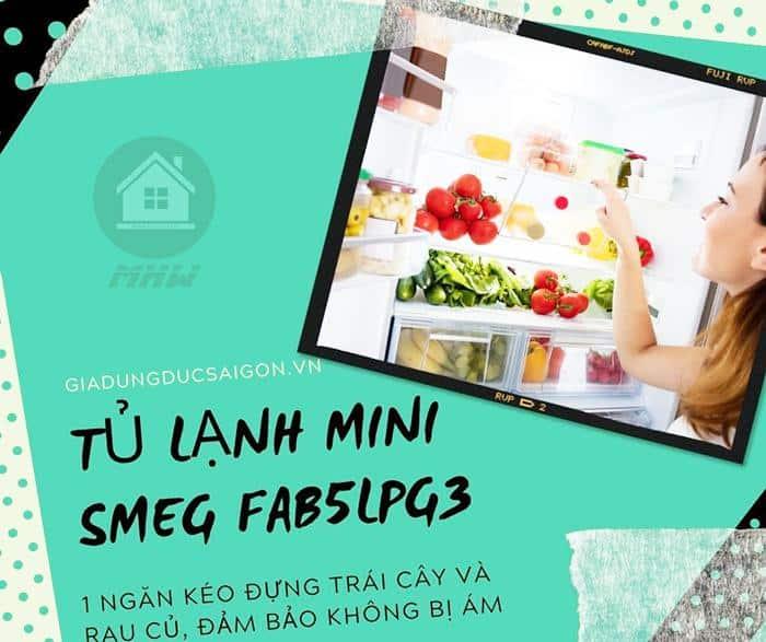 TỦ LẠNH MINI SMEG SMEG FAB5LPG3 màu xanh lá pastel