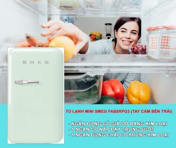 TỦ LẠNH MINI SMEG FAB5RPG3 màu xanh lá pastel