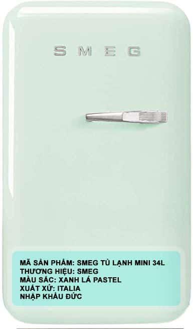 TỦ LẠNH MINI SMEG SMEG FAB5LPG3 xanh lá pastel