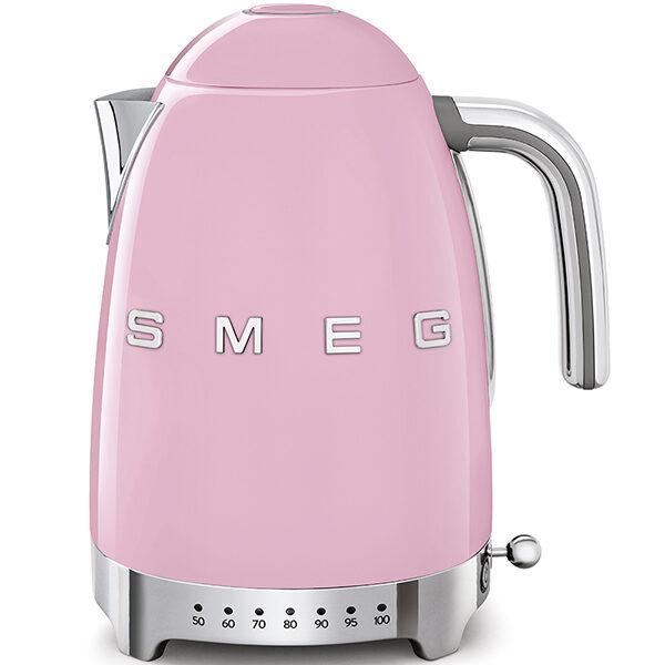 Ấm đun nước SMEG KLF04PKEU màu hồng với thiết kế các nút sáng nhiệt độ trực quan