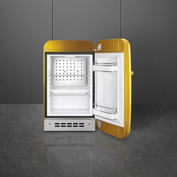 Tủ lạnh mini smeg FAB5RDGO3 màu vàng gold tay cầm bên trái