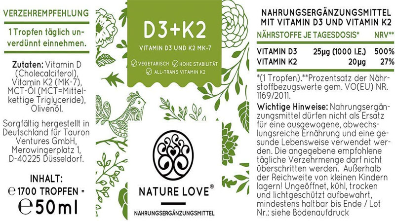 Vitamin D3 + K2 Nature Love 20ml
