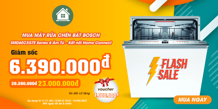 Siêu Ưu Đãi Flash Sale Daily - Máy Rửa Bát Bosch SMD6ECX57E Series 6 Âm Tủ