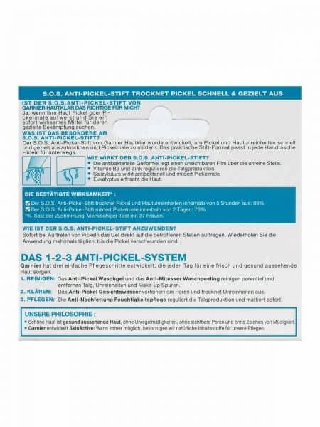 SOS Anti Pickel Stift Hautklar Anti Pickel 10ml Verpackung Rueckseite Garnier Deutschland gr