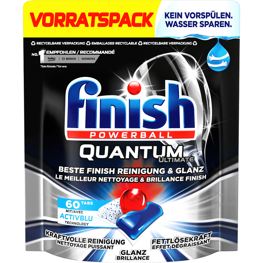 Viên Rửa Chén Bát Finish Quantum Ultimate Túi 60 Viên