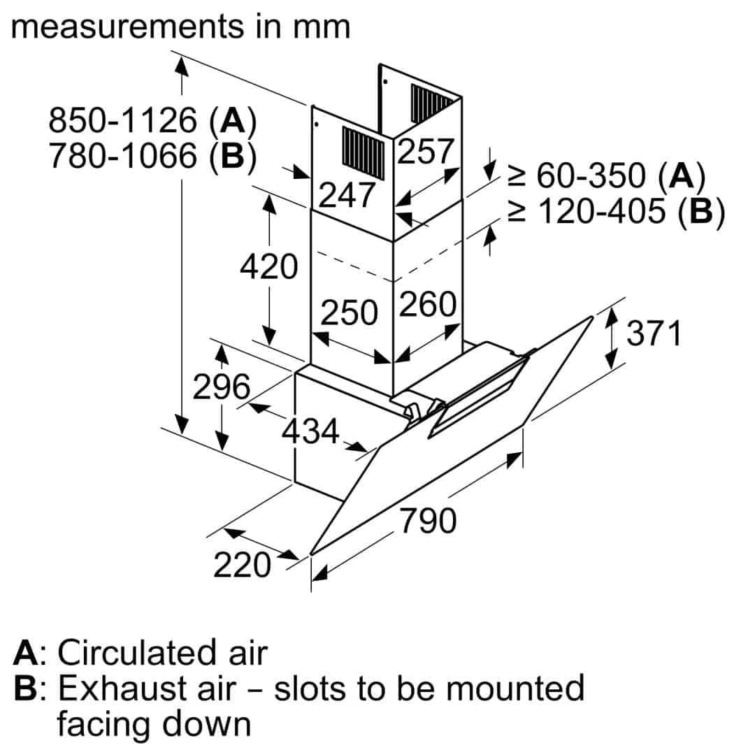 Bảng vẽ thông số kích thước Máy Hút Mùi Bosch DWK87EM60 Serie 2